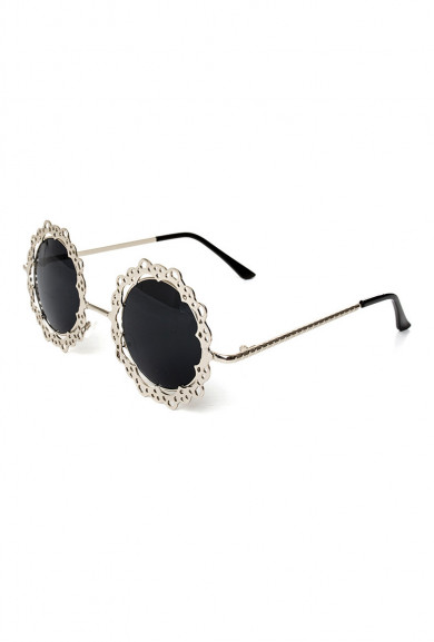Sunglasses -French Vintage Lace Rim Round Sunglasses Pewter