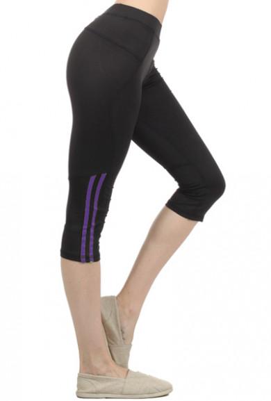 Capris - Front Runner Contrast Color Bar Trimmed Purple Workout Capris