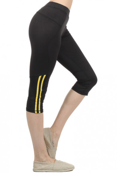 Capris - Front Runner Contrast Color Bar Trimmed Yellow Workout Capris