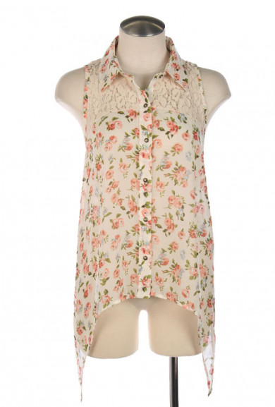 Blouse - In Full Bloom Lace Yoke Sleeveless Floral Print Blouse in Peach