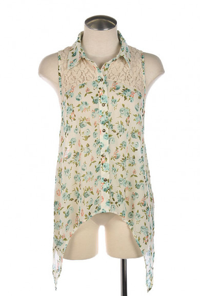 Blouse - In Full Bloom Lace Yoke Sleeveless Floral Print Blouse in Sky