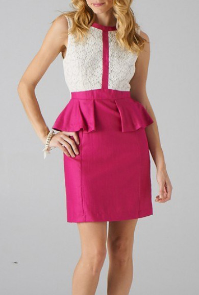 Dress - Gallery Opening Lace Eyelet Sleeveless Peplum Dress in White/Fuchsia