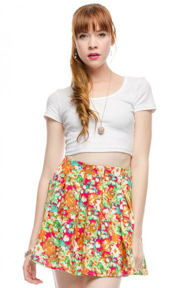 Skirt - Garden Resort Pleated Floral Print Skater Skirt in Fuchsia