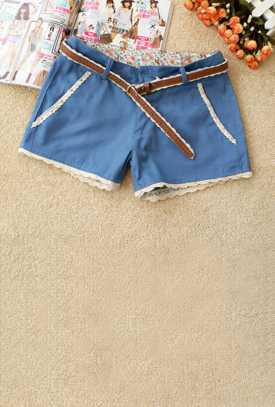 Shorts - Gelato Dream Lace Trim Shorts in Blueberry