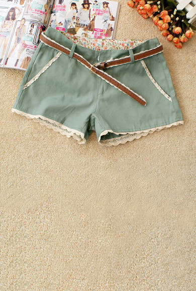 Shorts - Gelato Dream Lace Trim Shorts in Mint