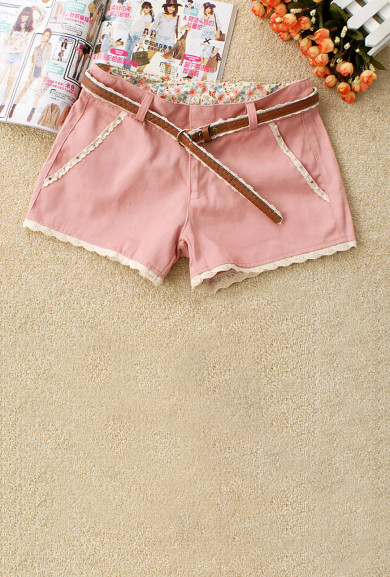 Shorts - Gelato Dream Lace Trim Shorts in Strawberry Pink