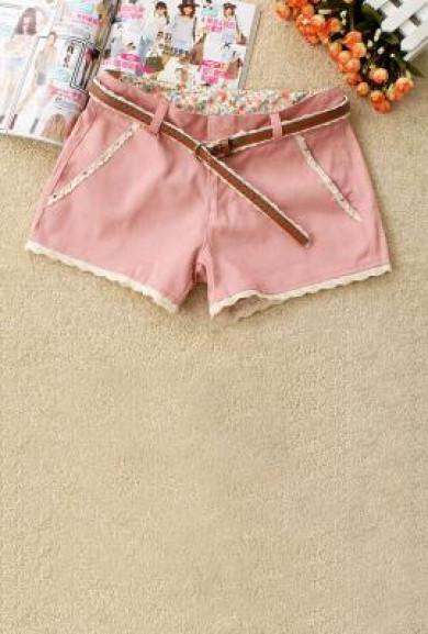 Shorts - Gelato Dream Lace Trim Strawberry Shorts