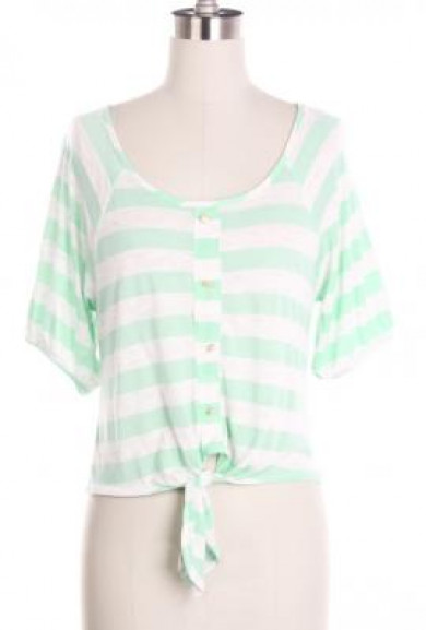 Top - Gentle Souls Striped 3/4 Buttoned Sleeve Top in Soft Mint