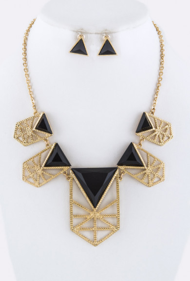 Necklace - Grand Scheme Geometric Statement Bib Necklace in Gold/Black