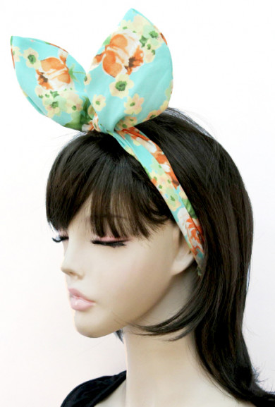 Head Piece - Retro Bliss Floral Print Wired Headband in Mint