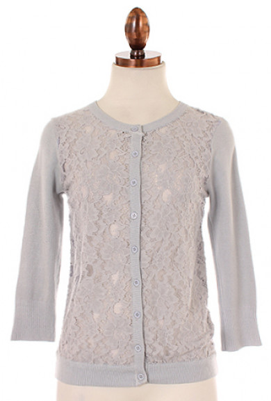Cardigan - Girl Next Doorl Lace Panel 3/4 Sleeve Cardigan in Grey