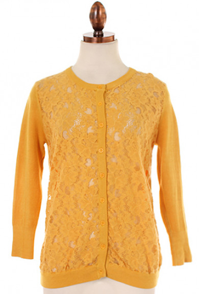Cardigan - Girl Next Door Lace Panel 3/4 Sleeve Cardigan in Mustard