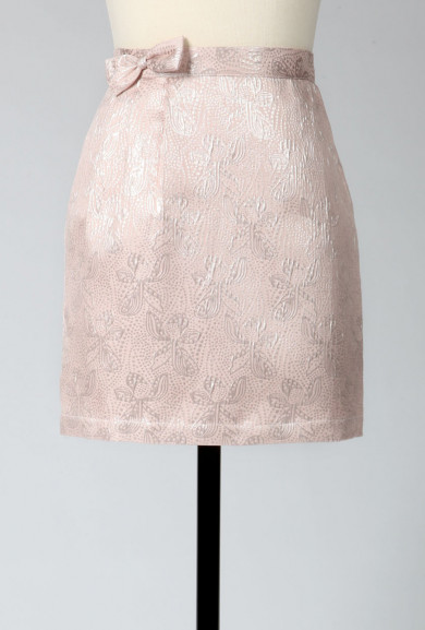 Skirt - Glistening Glamour Jacquard Skirt with Bow in Pearlescent Pink