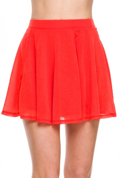 Skirt - Go with the Flow Skater Skirt in Red