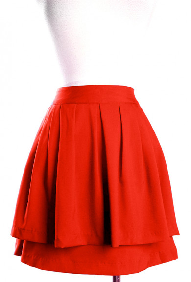 Skirt - Hall Pass Double Layered Pleat Skirt in Rust