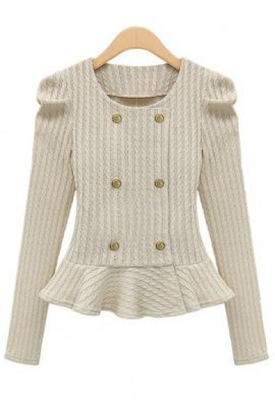 Jacket - Hamptons Manor Ivory Double Breasted Jacquard Weave Peplum Jacket