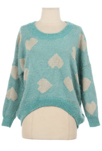 Sweater - Happy Together Sea Foam Heart Print Knit Sweater
