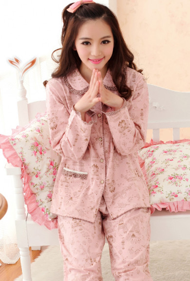 Pajama - Hearth and Home Vintage Print Pajama Set in Pink/Brown