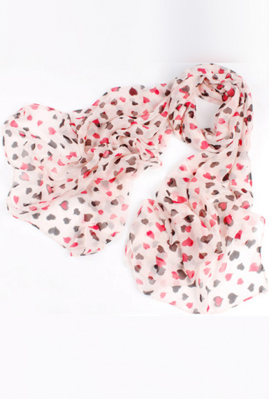 Scarf - Airy Romance Heart Pattern Chiffon Scarf in Pink