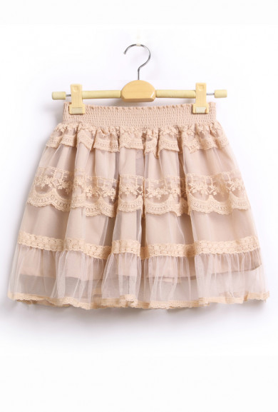 Skirt - Hearts Content Lace A-line Tiered Mesh Skirt in Nude Pink