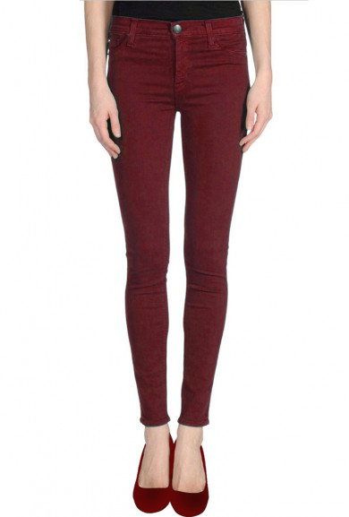 Skinny Jeans - Hipster Vibe Low Rise Skinny Jeans in Burgundy