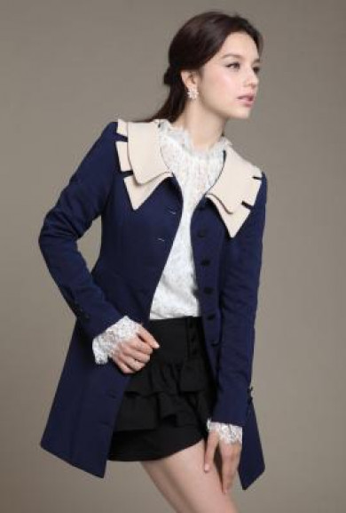 Coat - Historical Fiction Vintage Lapel Collar Swing Coat in Navy/White