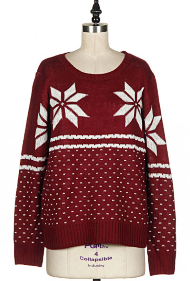 Sweater - Holiday Spirit Snowflake Print Burgundy Knit Sweater