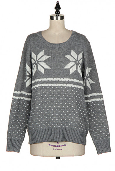 Sweater - Holiday Spirit Snowflake Print Grey Knit Sweater