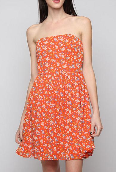 Dress - Home Grown Floral Print Strapless Skater Dress in Orange Blossom