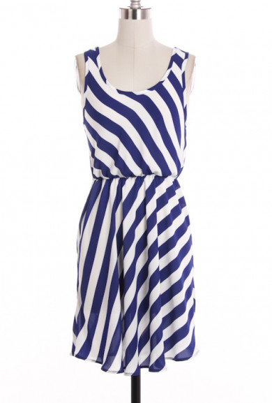 Dress - Home of Liberty Striped Sleeveless Dress in Royal Blue