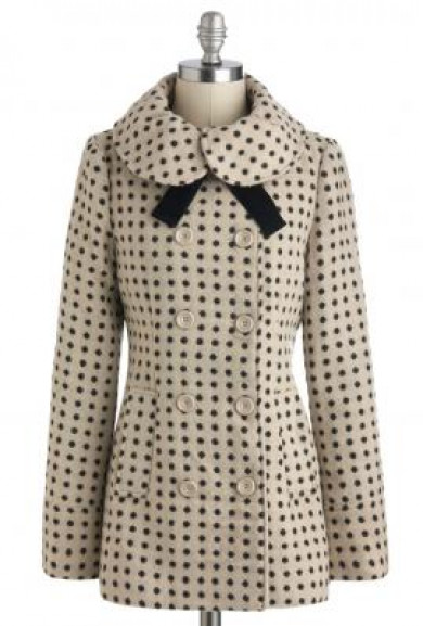 Coat - Home Sweet Home Dot Print Coat with Velvet Neck Tie