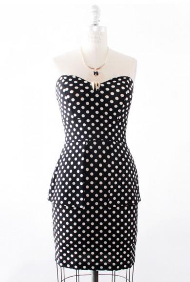 Dress - Hourglass Amusement Polka Dot Peplum Dress in Black/White