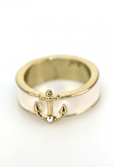 Rings - Shipwreck Treasure Anchor Lacquered Ring in Ivory