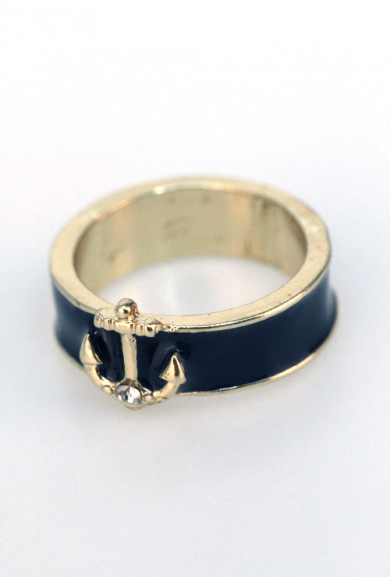 Rings - Shipwreck Treasure Anchor Lacquered Ring in Navy Blue