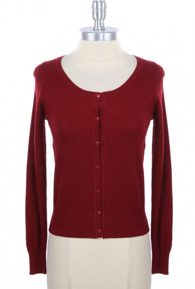 Cardigan - Humble Abode Long Sleeve Cardigan in Burgundy