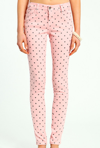 Skinny Jeans - Ice Cream Parlor Polka Dot Skinny Jeans in Strawberry Pink