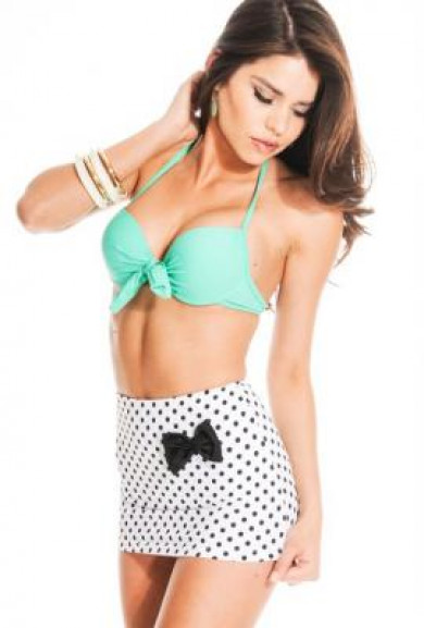Bikini Set - Ice Cream Party Mint Halter Bikini & Polka Dot Skirt Bikini Bottom