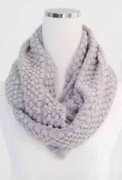 Scarf - Traveled Road Knitted Light Grey Infinity Scarf
