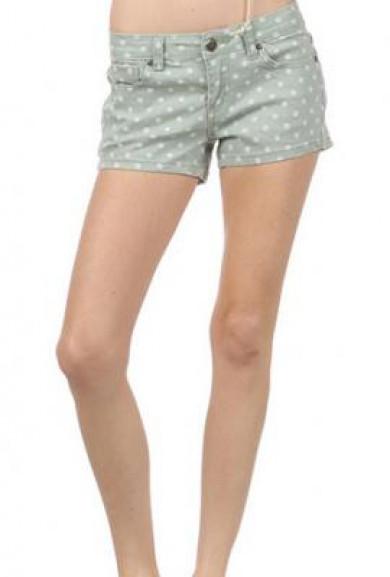 Shorts - Water Color Polka Dot Denim Vintage Mint Shorts