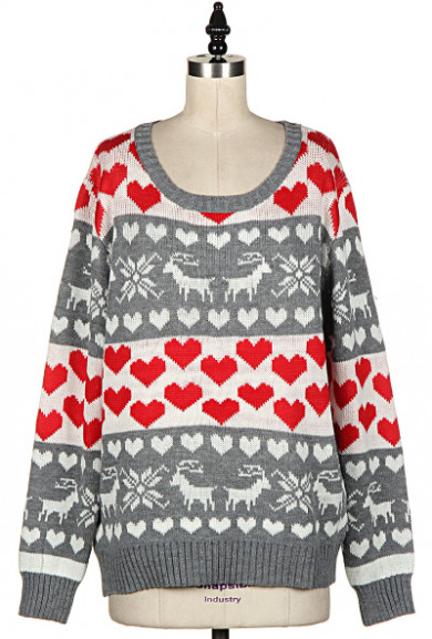 Sweater - Jolly & Bright Heart Nordic Print Grey Knit Sweater
