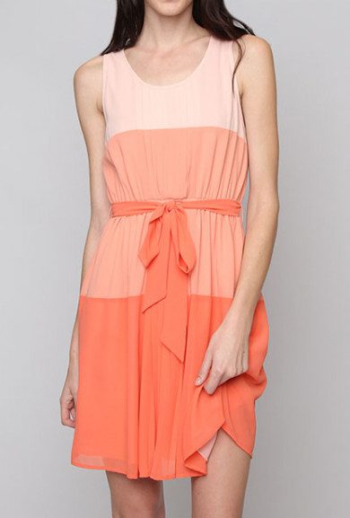 Dress - Journalistic Perspective Gradient Color Block Sleeveless Dress in Coral