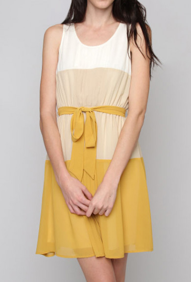 Dress - Journalistic Perspective Gradient Color Block Sleeveless Dress in Mustard