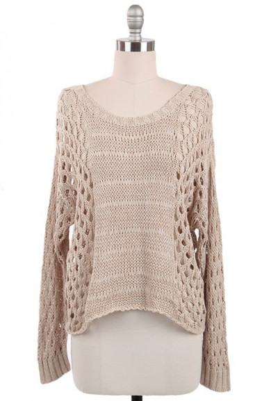 Sweater - Just Friends Beige Slouchy Open Knit Sweater