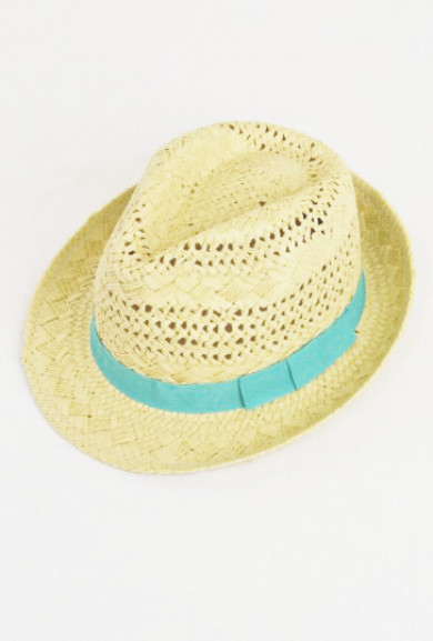 Hat - Ocean Breeze Open Weave Straw Fedora Hat with Ribbon Trim in Aqua
