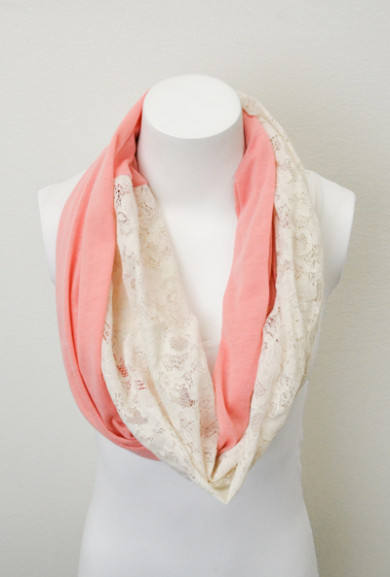Scarf - Just a Girl Jersey Knit and Lace Pink Infinity Scarf