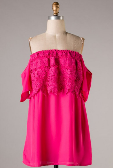 Dress - Berry Sweet Lace Off the Shoulder Mini Dress in Fuchsia