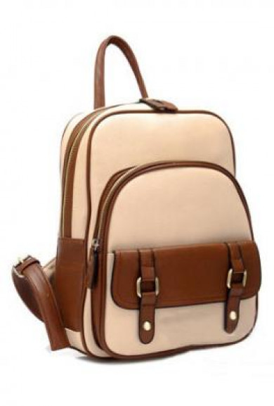 Backpack - Letterpress Era Vintage Preppy Two Toned Multi-Compartment Beige Backpack