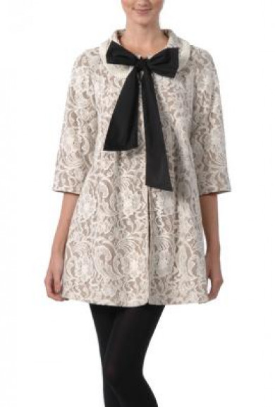 Coat - Letters from Paris Lace 3/4 sleeve Bow Center Coat in Ivory By Ryu Collection