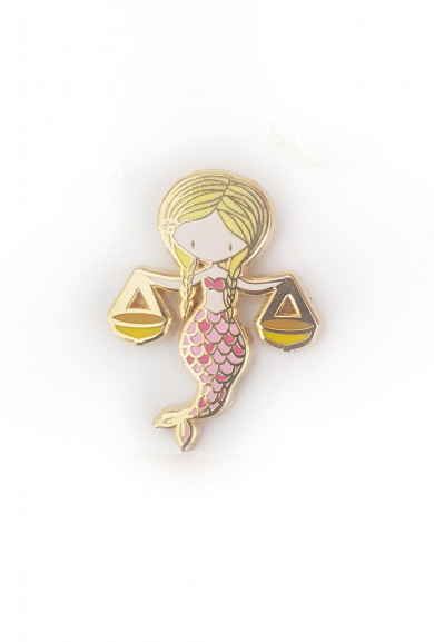 Zodiac Mermaid Enamel Pin - Libra