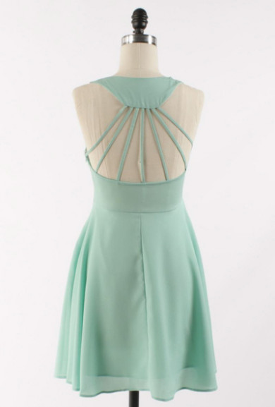 Dress - Life Radiance Cutout Multi Strap Back Skater Dress in Mint